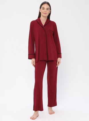 Maroon - Maroon - V neck Collar - Pyjama Set