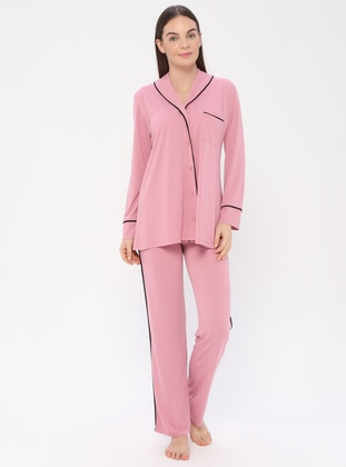 Dusty Rose - V neck Collar - Pyjama - PILLOWTALK