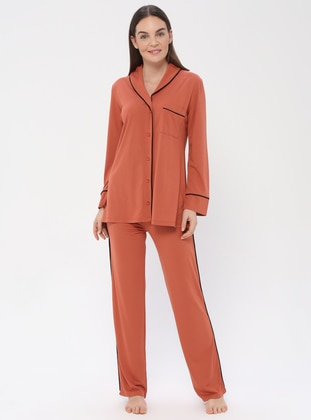 Terra Cotta - V neck Collar - Pyjama - PILLOWTALK