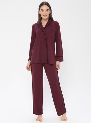 Plum - V neck Collar - Pyjama - PILLOWTALK