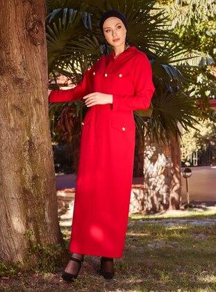 Red - V neck Collar - Unlined - Dress