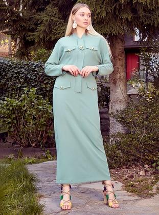 Mint - V neck Collar - Unlined - Dress