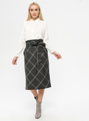 Gray - Plaid - Fully Lined - Skirt