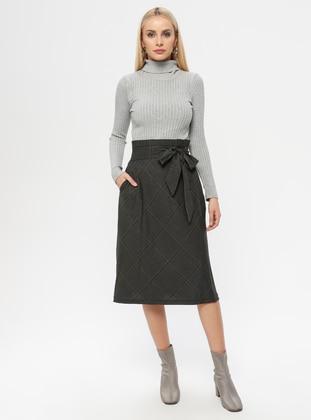 Khaki - Plaid - Fully Lined - Skirt