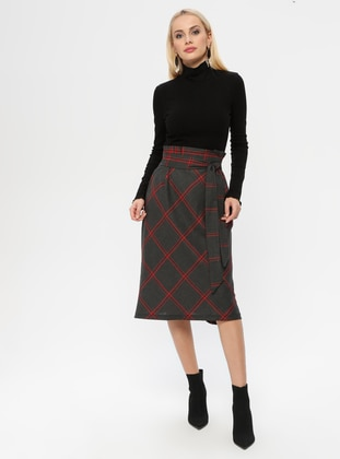 Red - Plaid - Fully Lined - Skirt