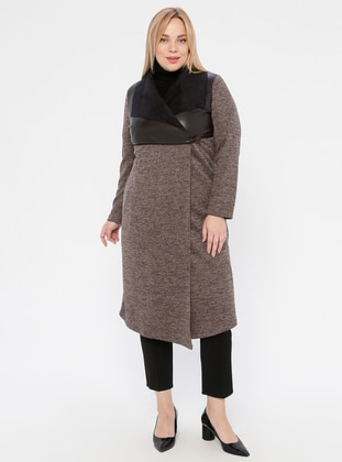 Powder - Shawl Collar - Acrylic -  - Plus Size Cardigan - SLN Exclusive