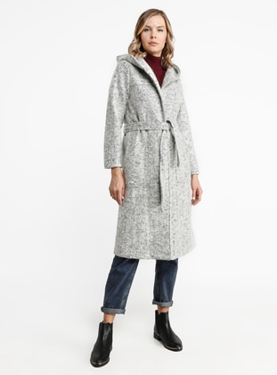 Gray - Unlined - Viscose - Coat