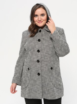 Gray - Fully Lined - Plus Size Overcoat