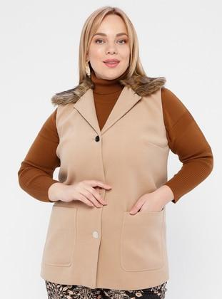 Camel - Shawl Collar - Plus Size Vest - SLN Exclusive