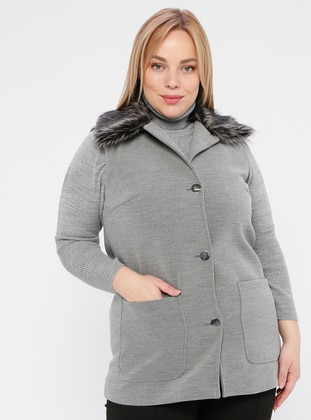 Gray - Shawl Collar - Plus Size Vest - SLN Exclusive