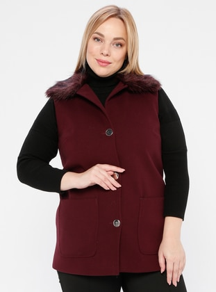 Plum - Shawl Collar - Plus Size Vest - SLN Exclusive