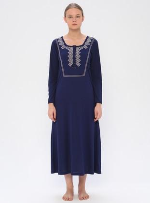 Navy Blue - Sweatheart Neckline - Nightdress