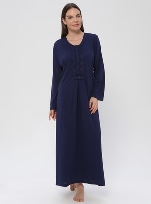 Navy Blue - Navy Blue - Sweatheart Neckline - Nightdress