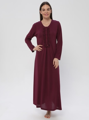 Plum - Plum - Sweatheart Neckline - Nightdress