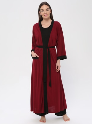 Maroon - Viscose - Pyjama - PILLOWTALK