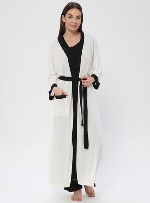 Ecru - Ecru - Viscose - Morning Robe