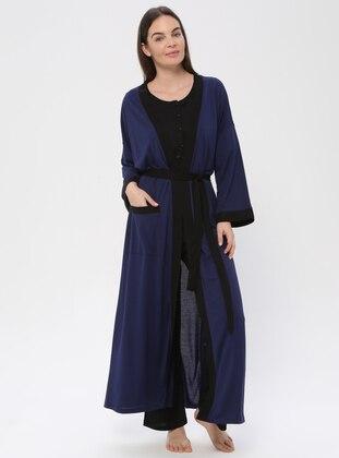 Navy Blue - Navy Blue - Viscose - Morning Robe - PILLOWTALK