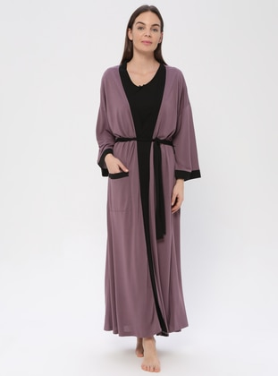 Purple - Purple - Viscose - Morning Robe