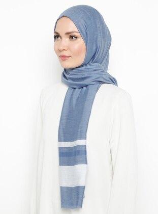 Indigo - Striped - Plain - Viscose - Shawl