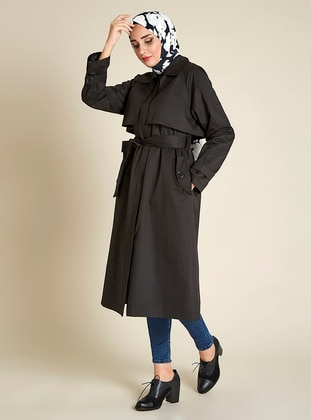 Black - Fully Lined - Point Collar -  - Trench Coat