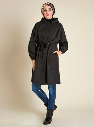 Black - Fully Lined - Waterproof - Trench Coat