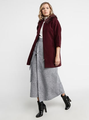 Plum - Fully Lined - Viscose - Coat
