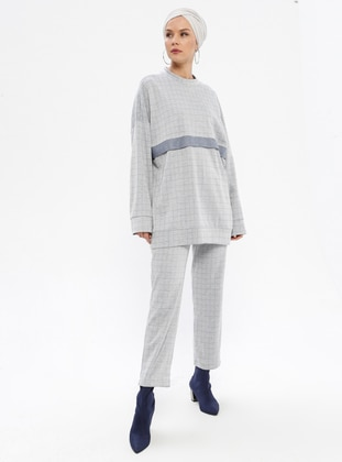 Gray - Blue - Checkered - Unlined -  - Suit