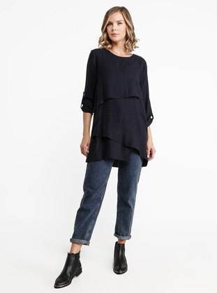 Navy Blue - Crew neck - Viscose - Blouses