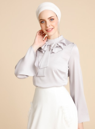 Gray - Polo neck - Blouses