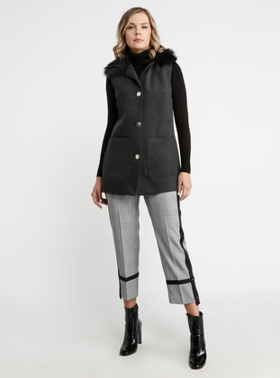 Anthracite - Fully Lined - Shawl Collar - Viscose - Vest