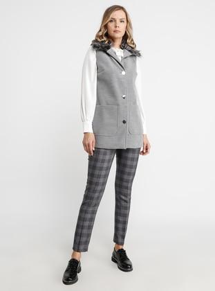 Gray - Fully Lined - Shawl Collar - Viscose - Vest