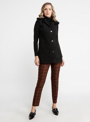 Black - Fully Lined - Shawl Collar - Viscose - Vest