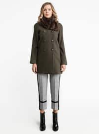 Khaki - Fully Lined - Crew neck - Viscose - Coat