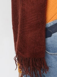 Acrylic - Wool Blend - Brown - Plain - Fringe - Shawl Wrap