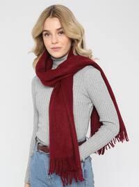 Acrylic - Wool Blend - Maroon - Plain - Fringe - Shawl Wrap