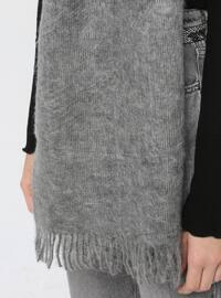 Acrylic - Wool Blend - Gray - Plain - Fringe - Shawl Wrap