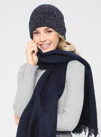 Acrylic - Wool Blend - Navy Blue - Plain - Fringe - Shawl Wrap