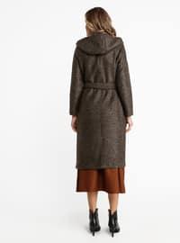 Khaki - Unlined - Crew neck - Viscose - Coat