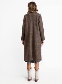 Brown - Unlined - Crew neck - Viscose - Coat