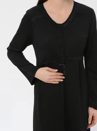 Black - Sweatheart Neckline - Nightdress