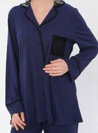 Navy Blue - Round Collar - Viscose - Pyjama
