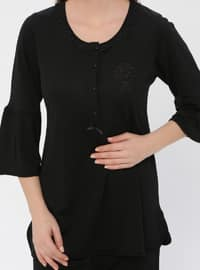 Black - Crew neck - Viscose - Pyjama