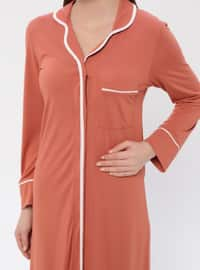 Terra Cotta - V neck Collar - Nightdress
