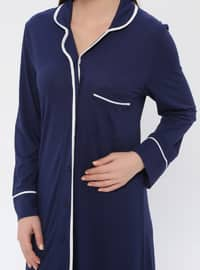 Navy Blue - V neck Collar - Nightdress
