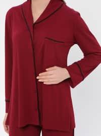 Maroon - V neck Collar - Pyjama