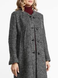Smoke - Unlined - Crew neck - Wool Blend - Coat
