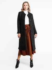 Black - Unlined - Crew neck - Wool Blend - Coat