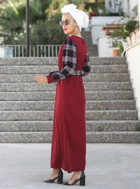 Maroon - Crew neck - Unlined - Dress
