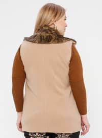 Camel - Shawl Collar - Plus Size Vest