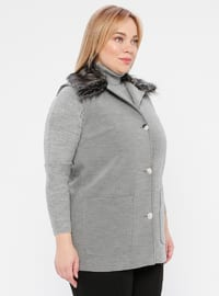 Gray - Shawl Collar - Plus Size Vest
